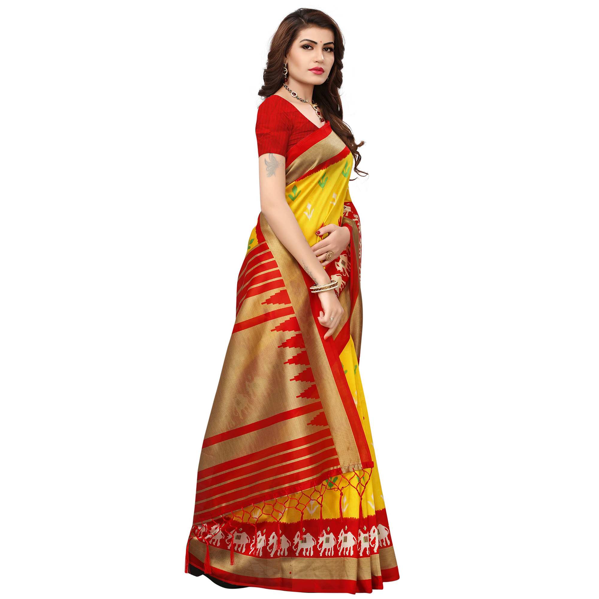 Energetic Yellow-Red Colored Printed Festive Wear Mysore Art Silk Saree