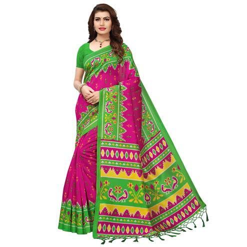 Irresistible Pink-Green Colored Printed Festive Wear Mysore Art Silk Saree