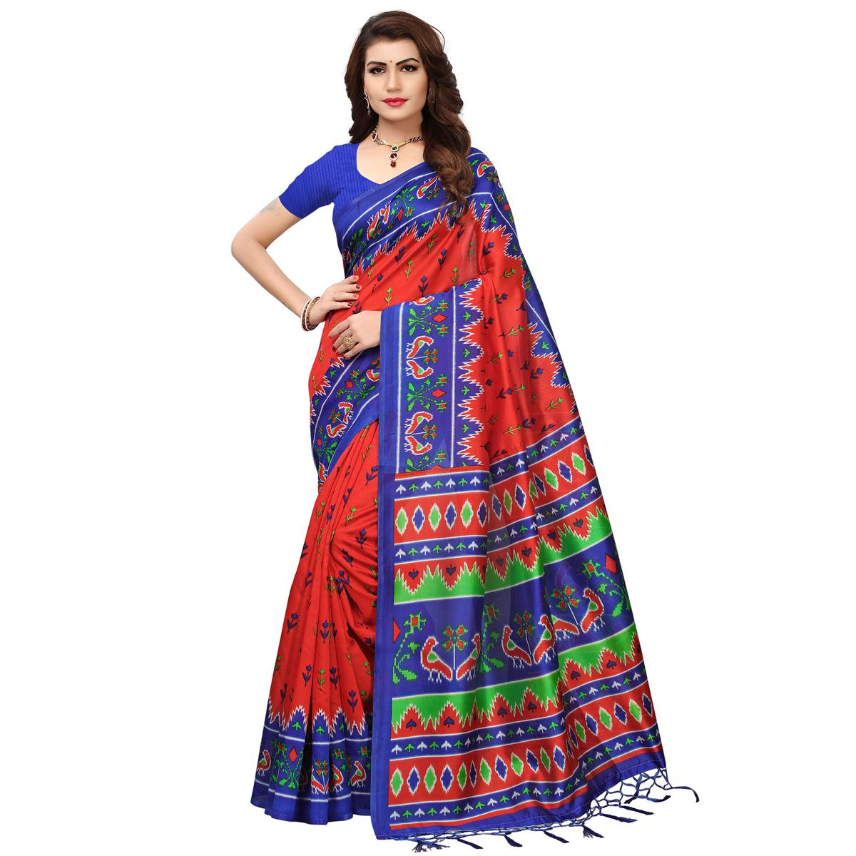 Mesmeric Orange-Blue Colored Printed Festive Wear Mysore Art Silk Saree