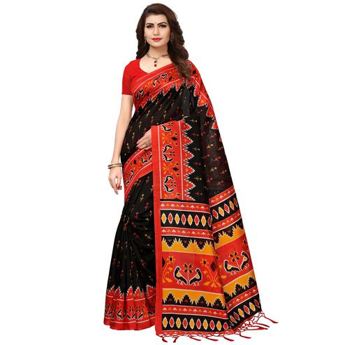 Outstanding Black-Red Colored Printed Festive Wear Mysore Art Silk Saree