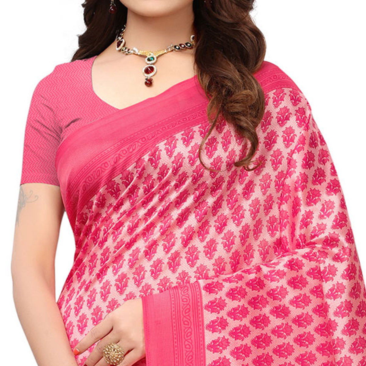 Appealing Light Pink Colored Printed Festive Wear Mysore Art Silk Saree