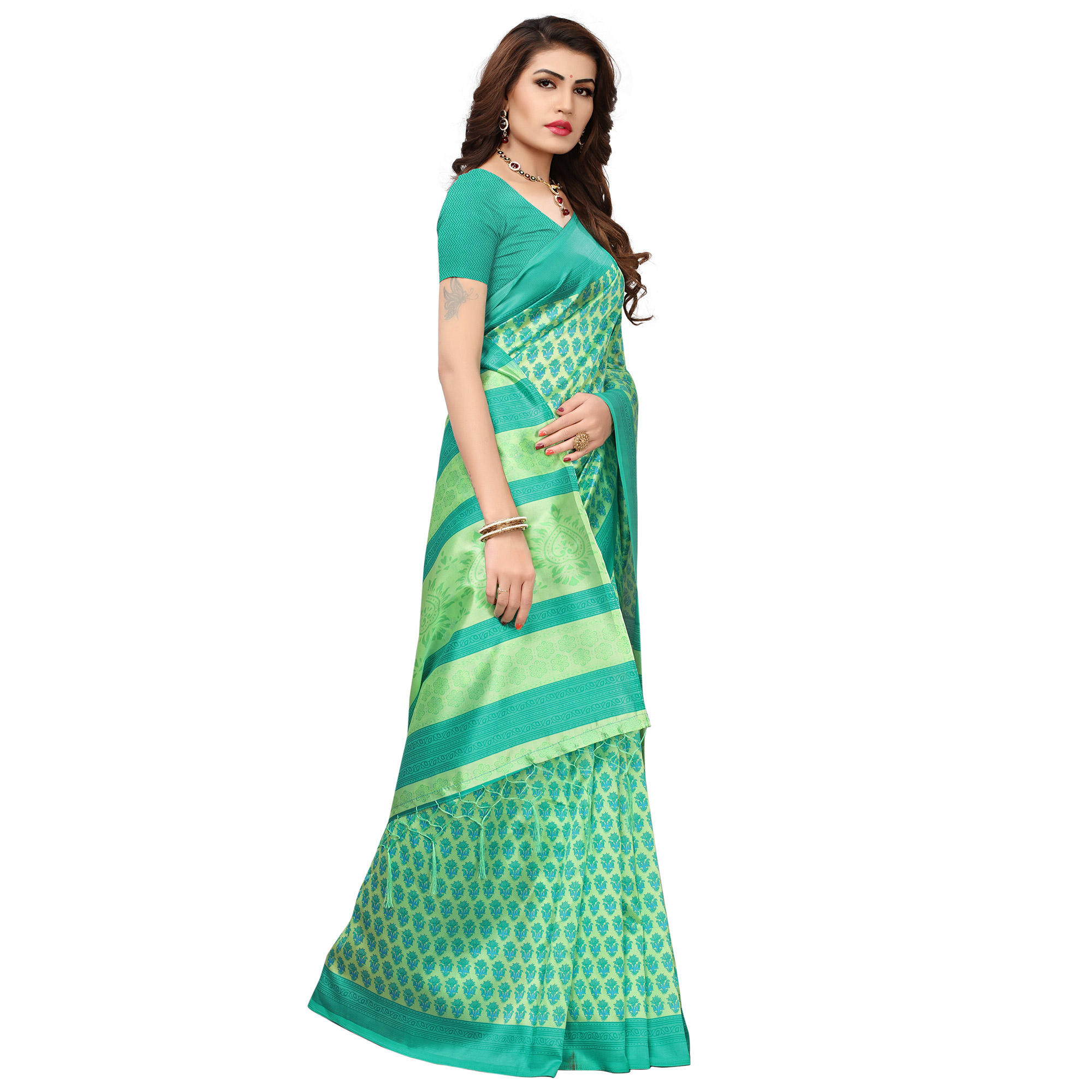Pleasant Green Colored Printed Festive Wear Mysore Art Silk Saree
