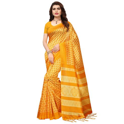 Innovative Yellow Colored Printed Festive Wear Mysore Art Silk Saree