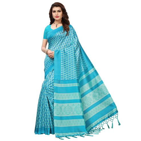 Pretty Blue Colored Printed Festive Wear Mysore Art Silk Saree