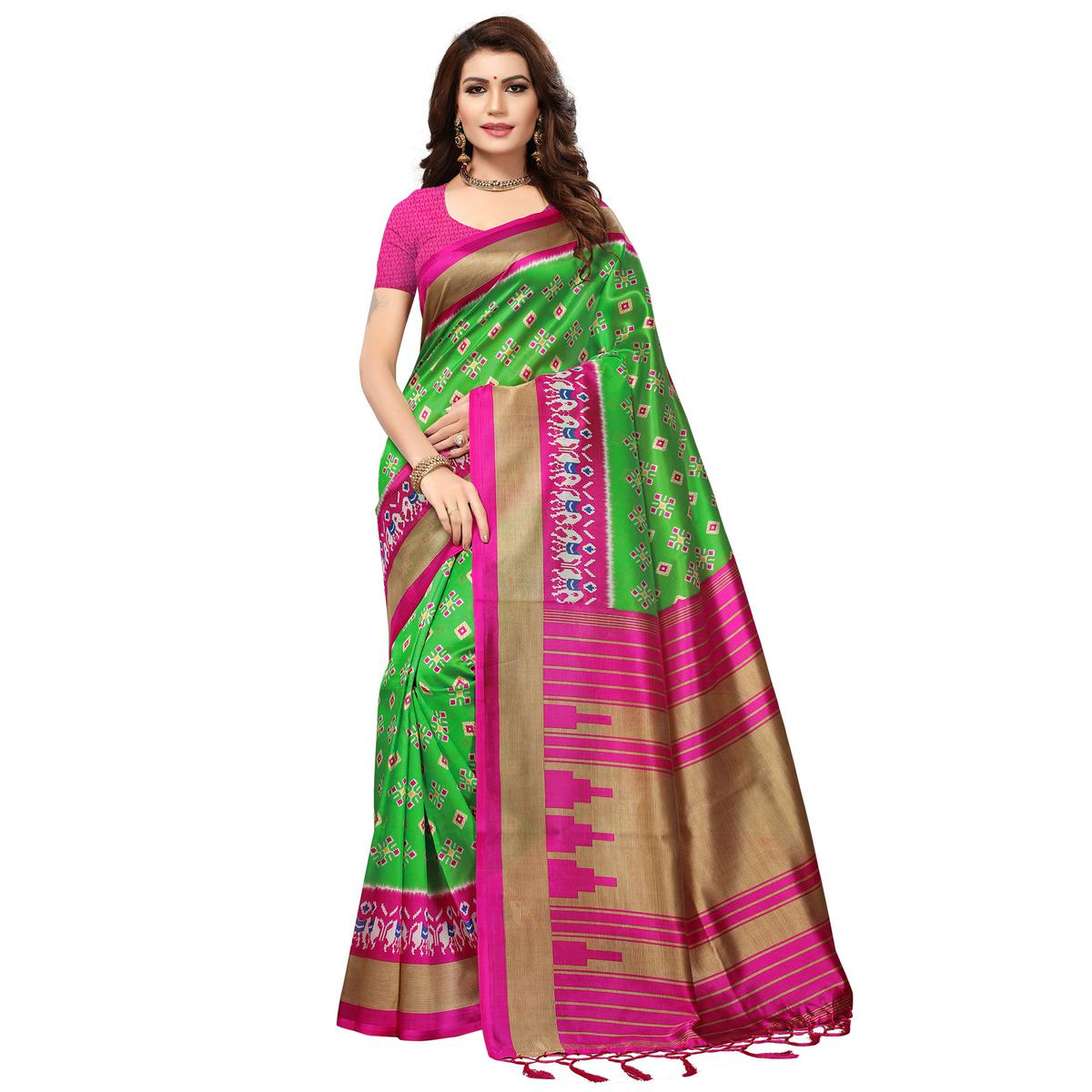 Surpassing Green-Pink Colored Printed Festive Wear Mysore Art Silk Saree