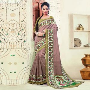 Light Purple Bhagalpuri Silk Saree
