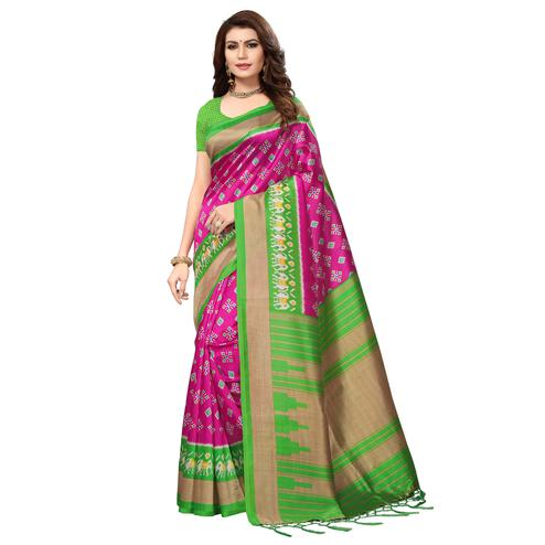 Adorning Pink-Green Colored Printed Festive Wear Mysore Art Silk Saree