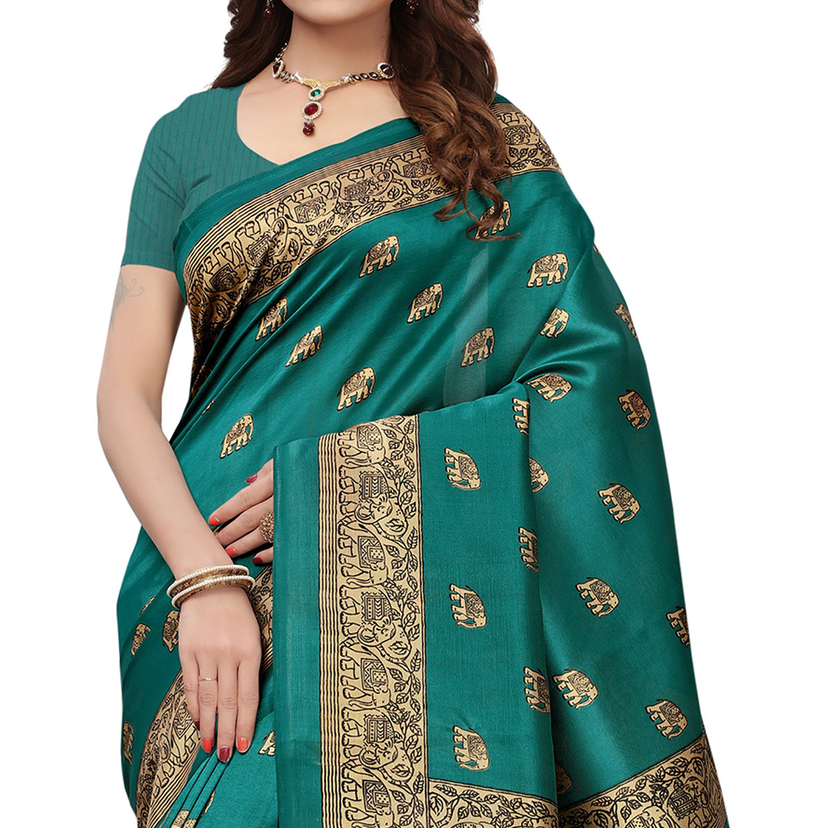 Eye-Catching Turquoise Green Colored Printed Festive Wear Mysore Art Silk Saree