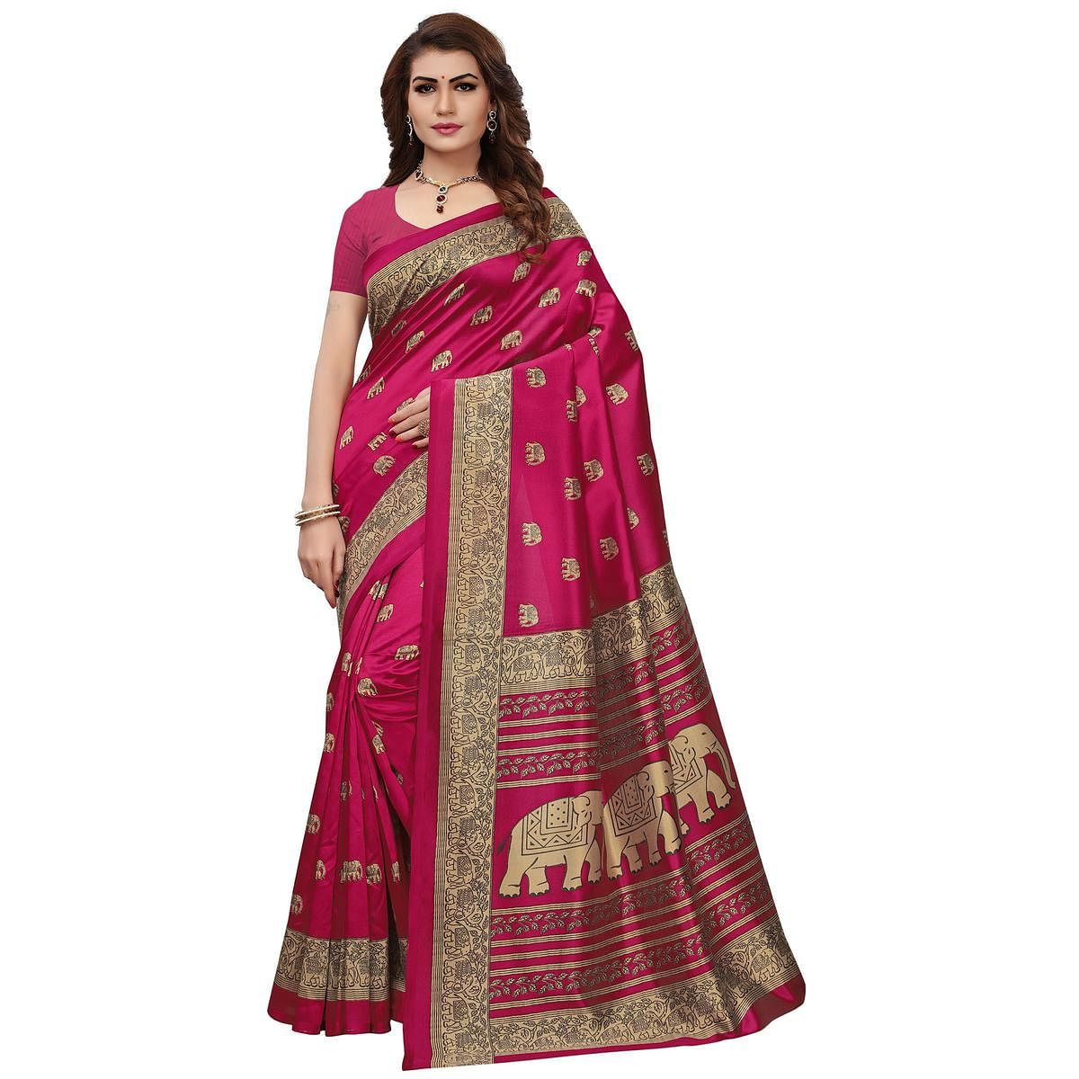 Different Pink Colored Printed Festive Wear Mysore Art Silk Saree