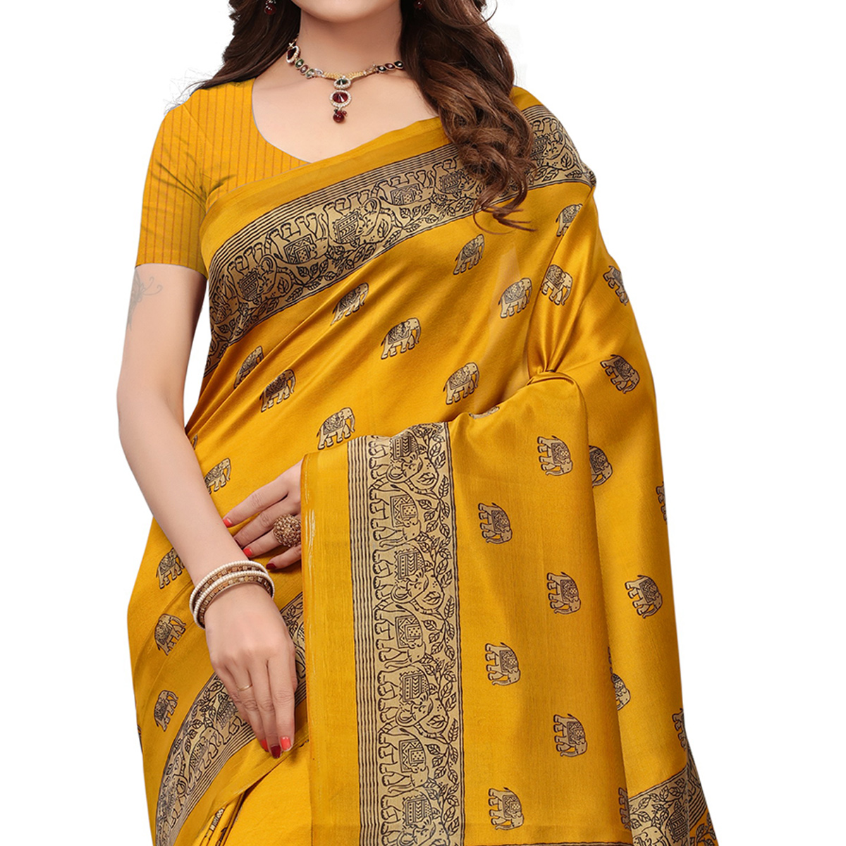 Gleaming Yellow Colored Printed Festive Wear Mysore Art Silk Saree