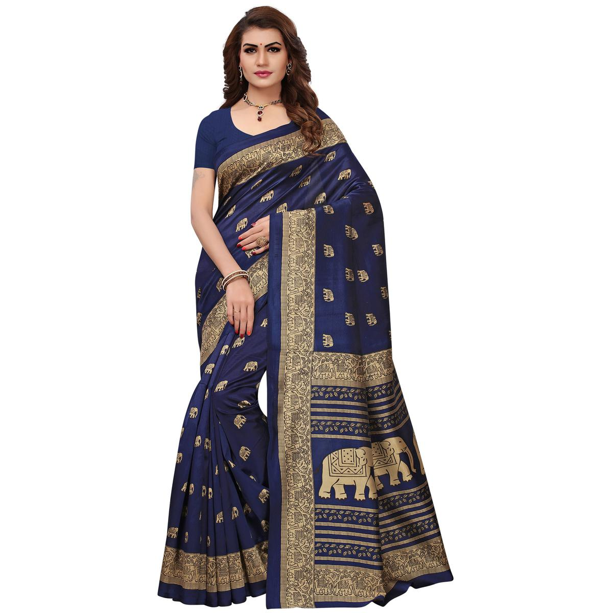 Demanding Navy Blue Colored Printed Festive Wear Mysore Art Silk Saree