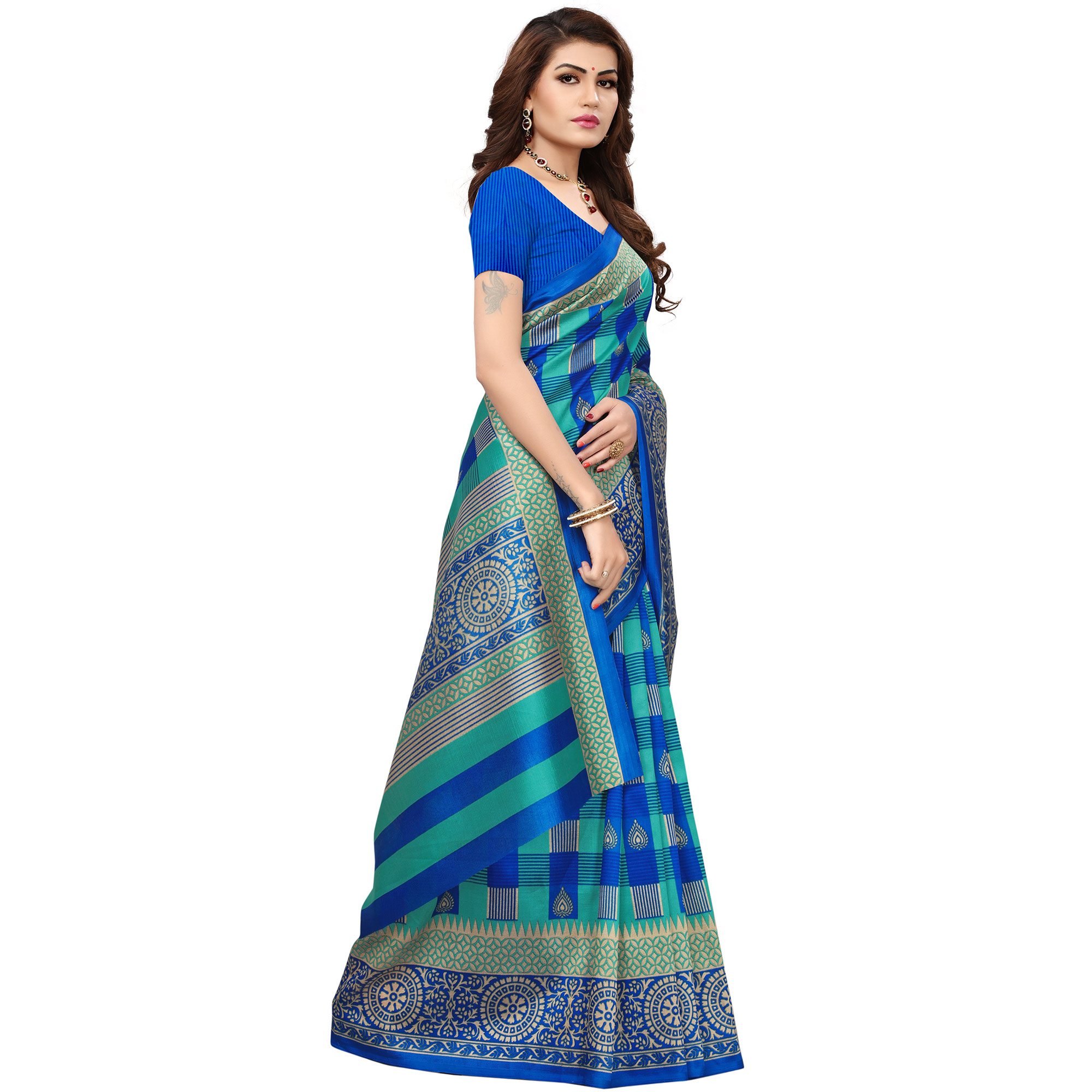Blooming Blue Colored Printed Festive Wear Mysore Art Silk Saree