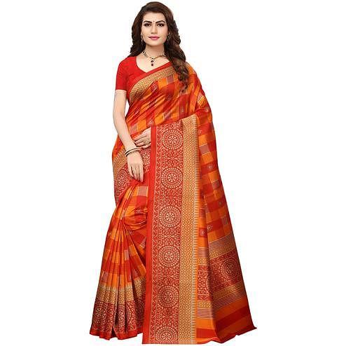 Staring Orange Colored Printed Festive Wear Mysore Art Silk Saree