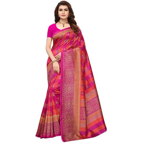 Perfect Pink Colored Printed Festive Wear Mysore Art Silk Saree