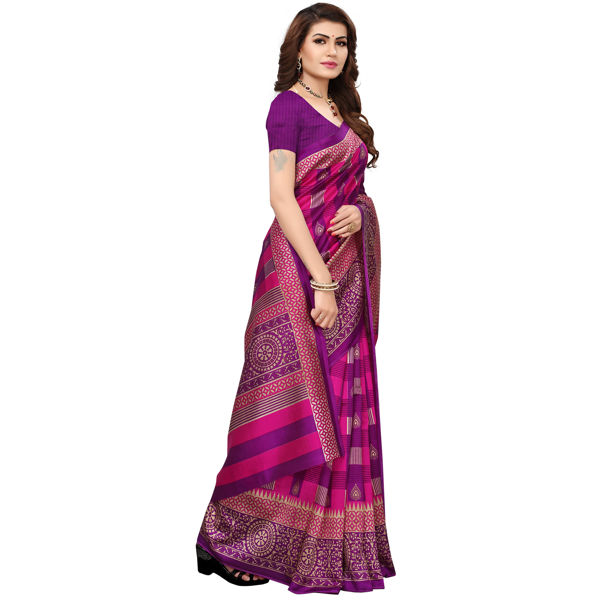 Fantastic Purple Colored Printed Festive Wear Mysore Art Silk Saree