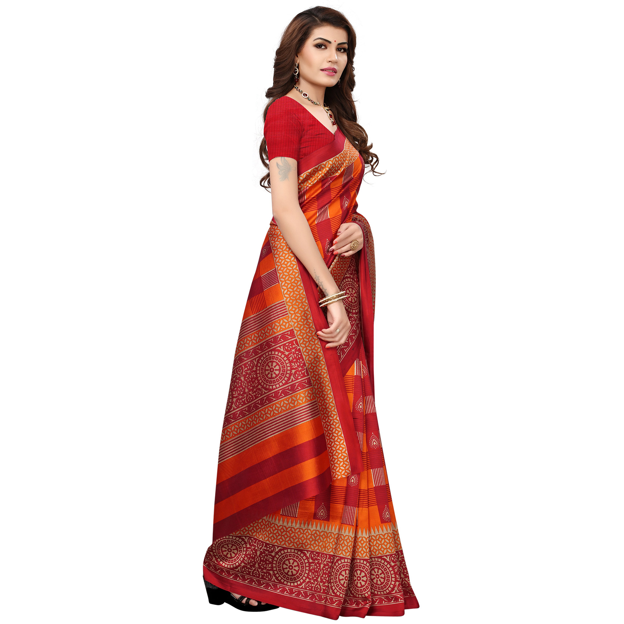 Unique Orange-Red Colored Printed Festive Wear Mysore Art Silk Saree