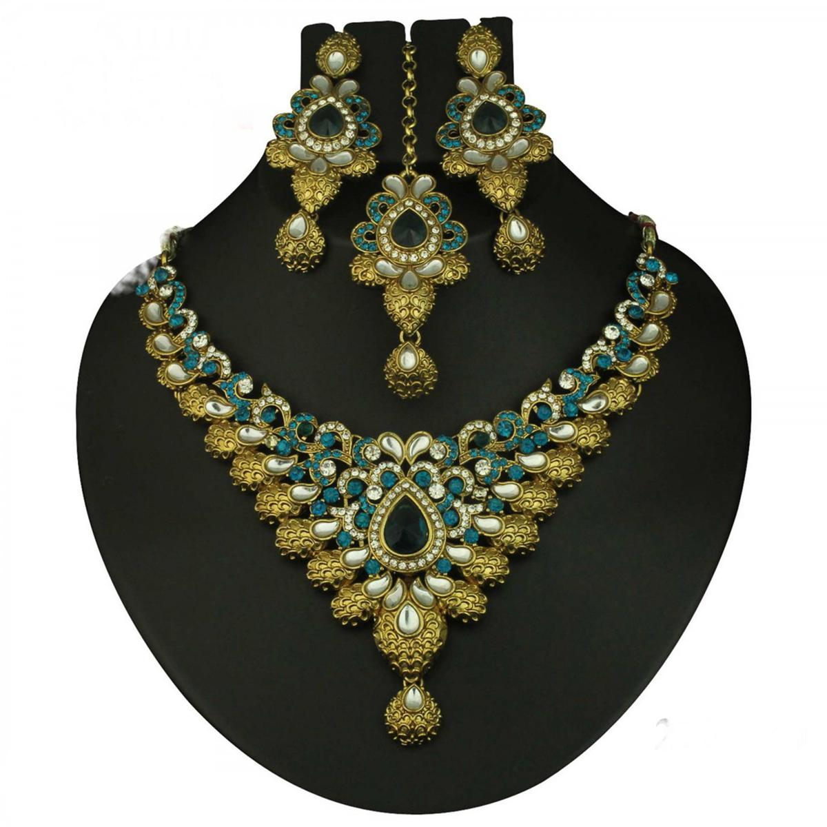 Kundan Blue Austrian Stone Gold Finish Necklace Sets With Maang Tikka