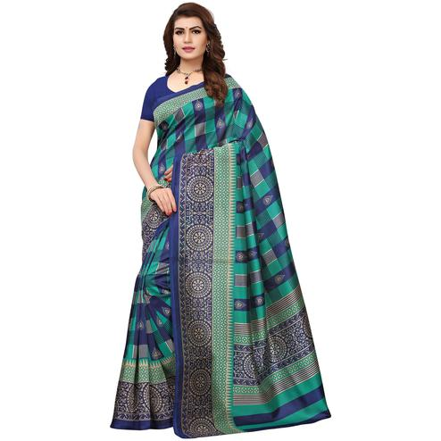 Opulent Teal Blue Colored Printed Festive Wear Mysore Art Silk Saree