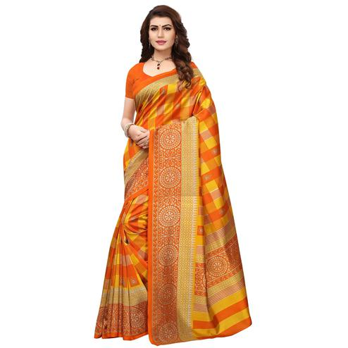 Appealing Yellow-Orange Colored Printed Festive Wear Mysore Art Silk Saree