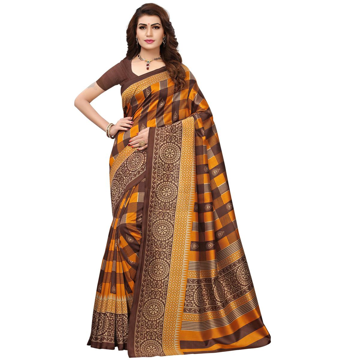 Innovative Brown Colored Printed Festive Wear Mysore Art Silk Saree