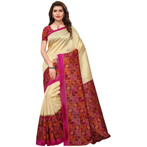 Pleasant Cream-Pink Colored Printed Festive Wear Mysore Art Silk Saree