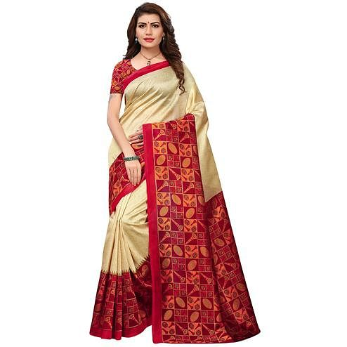 Jazzy Cream-Red Colored Printed Festive Wear Mysore Art Silk Saree