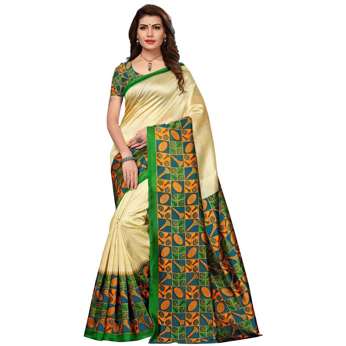 Lovely Cream-Green Colored Printed Festive Wear Mysore Art Silk Saree