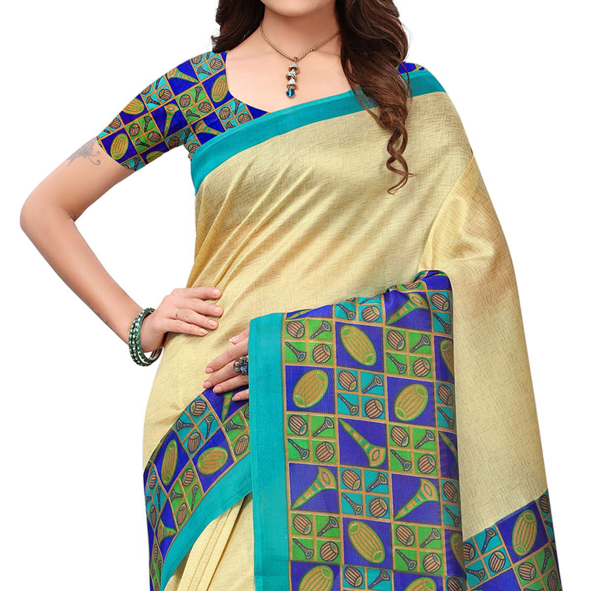 Stylish Cream-Blue Colored Printed Festive Wear Mysore Art Silk Saree