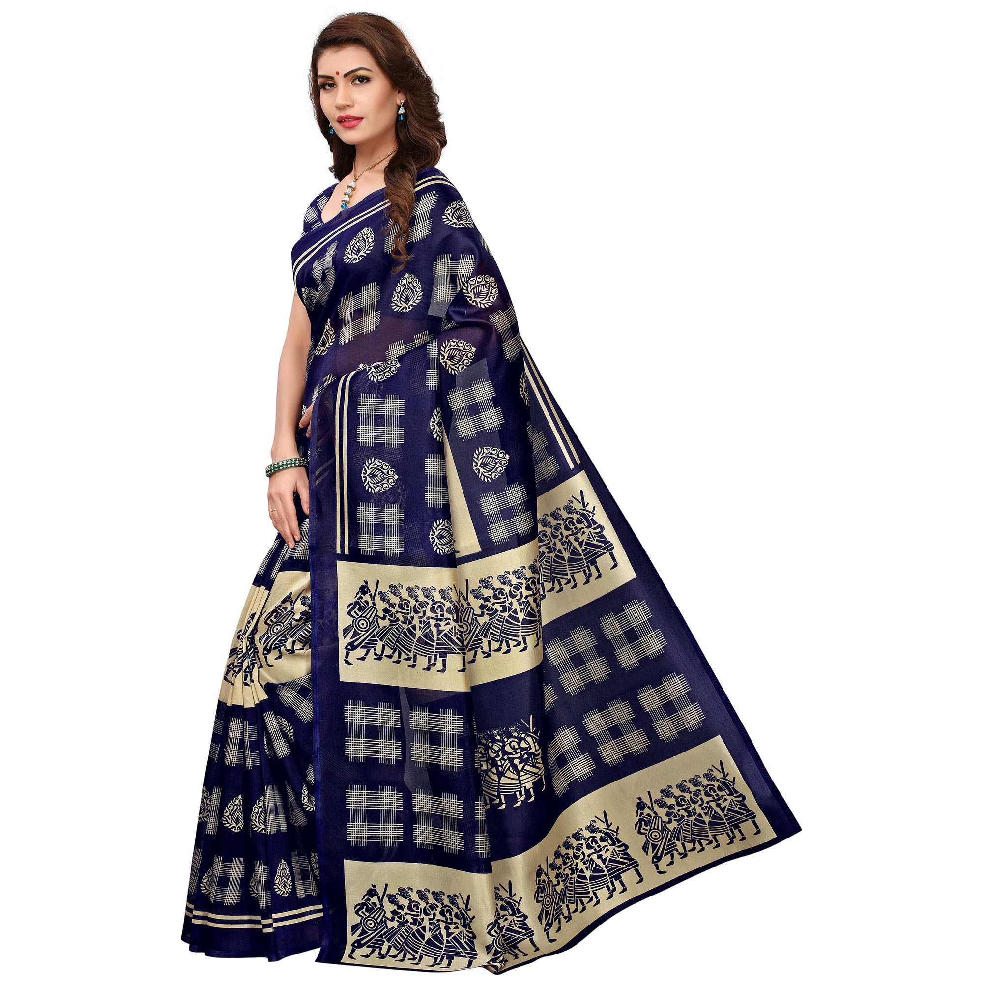 Exceptional Navy Blue Colored Printed Festive Wear Mysore Art Silk Saree