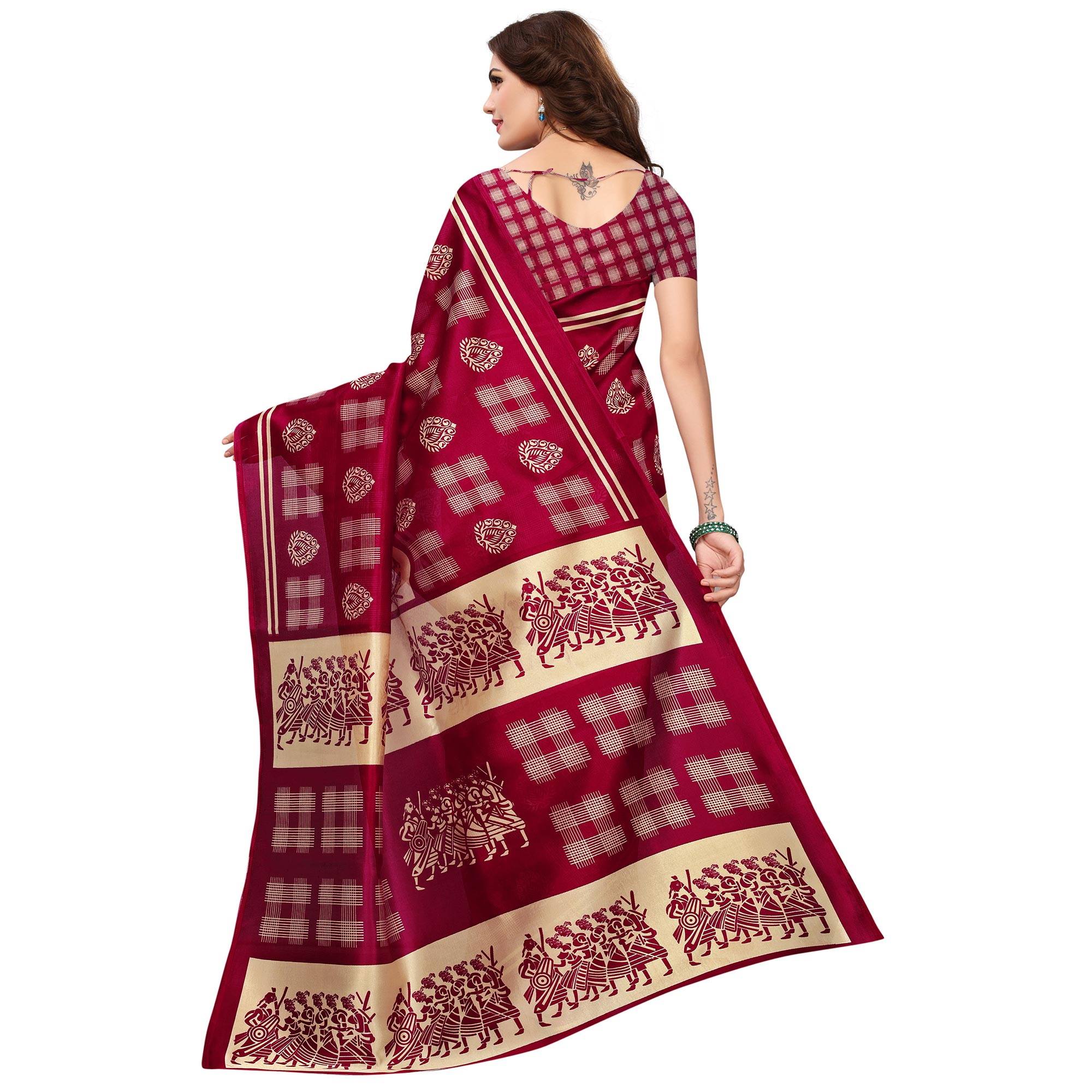 Groovy Magenta Colored Printed Festive Wear Mysore Art Silk Saree