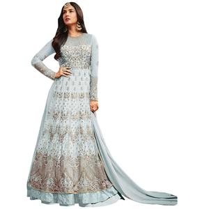 Gorgeous Light Blue Colored Partywear Embroidered Netted Lehenga Kameez