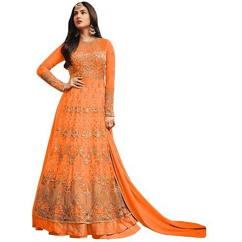 Blooming Orange Colored Partywear Embroidered Netted Lehenga Kameez