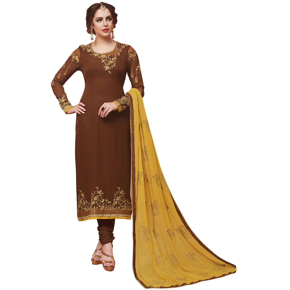 Marvellous Brown Designer Embroidered Georgette Suit