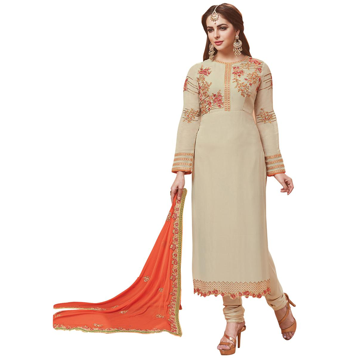 Elegant Beige Designer Embroidered Georgette Suit