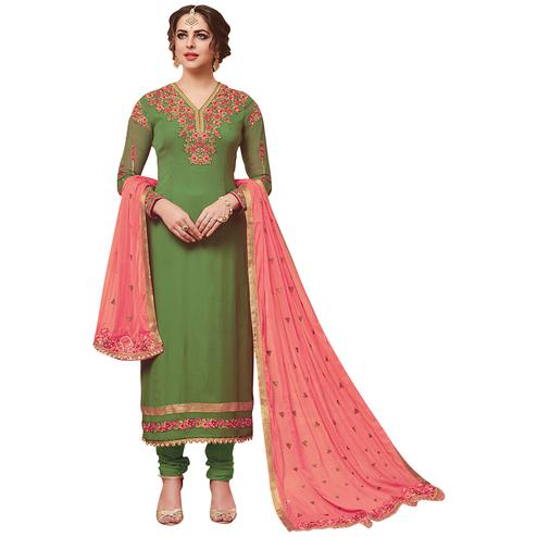 Classy Green Designer Embroidered Georgette Suit
