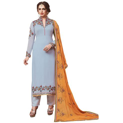 Graceful Grey Designer Embroidered Georgette Suit