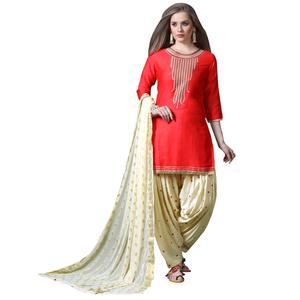 Blooming Red Colored Partywear Embroidered Soft Silk Patiala Suit