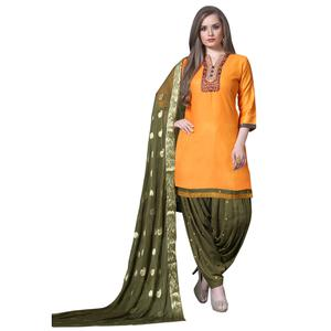 Traditional Orange Colored Partywear Embroidered Soft Silk Patiala Suit