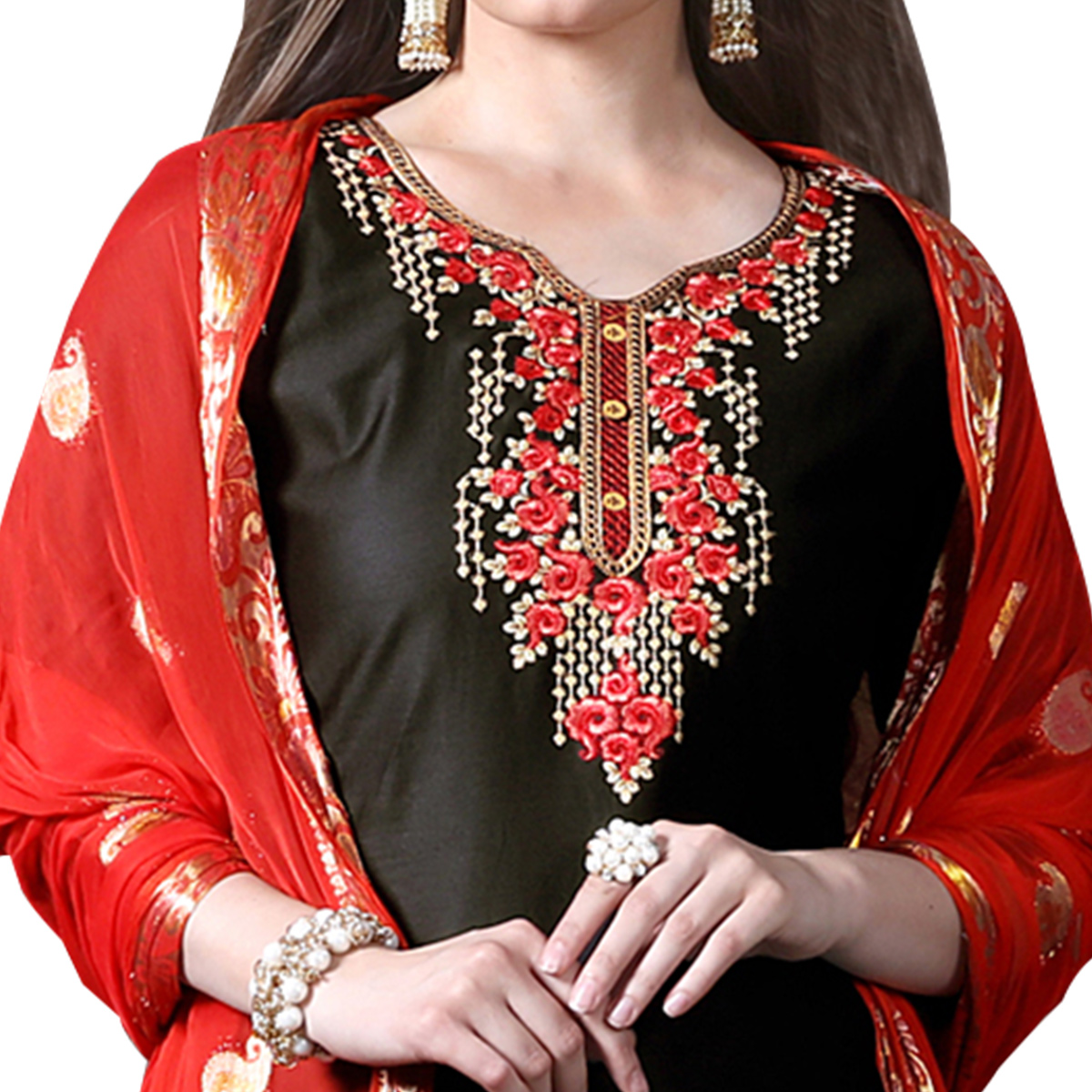 Demanding Black Colored Partywear Embroidered Soft Silk Patiala Suit