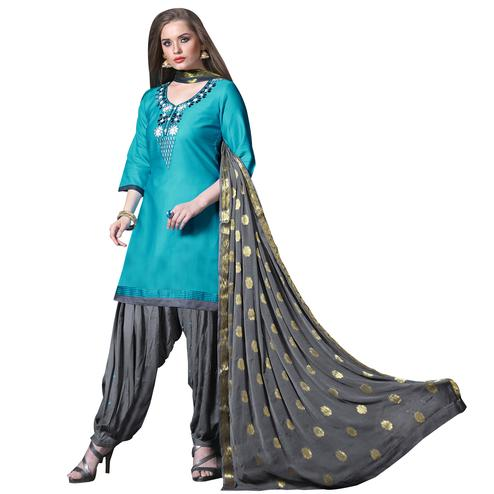 Refreshing Blue Colored Partywear Embroidered Soft Silk Patiala Suit