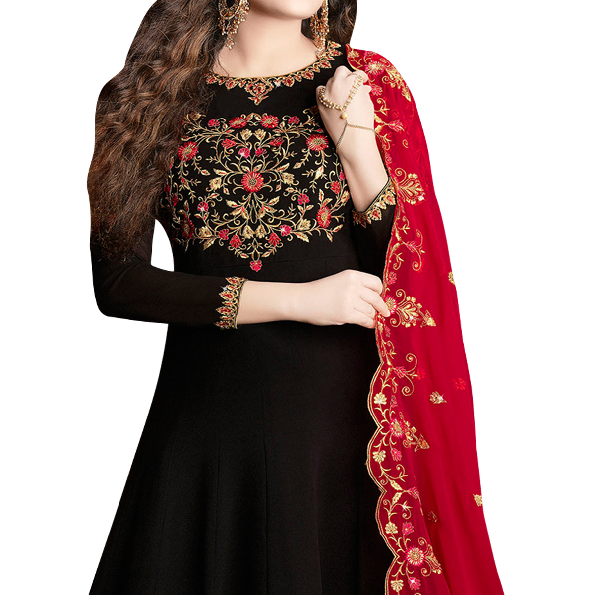 Arresting Black Colored Partywear Embroidered Georgette Anarkali Suit