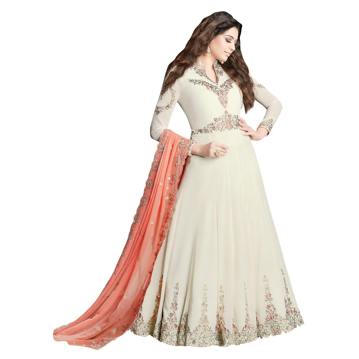 Pleasant Off-White Colored Partywear Embroidered Georgette Anarkali Suit