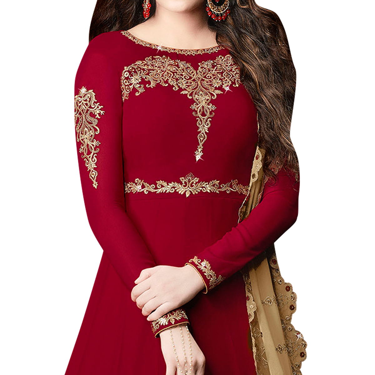 Traditional Maroon Colored Partywear Embroidered Georgette Anarkali Suit