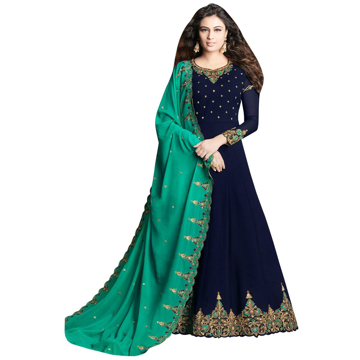 Favorite Navy Blue Colored Partywear Embroidered Georgette Anarkali Suit