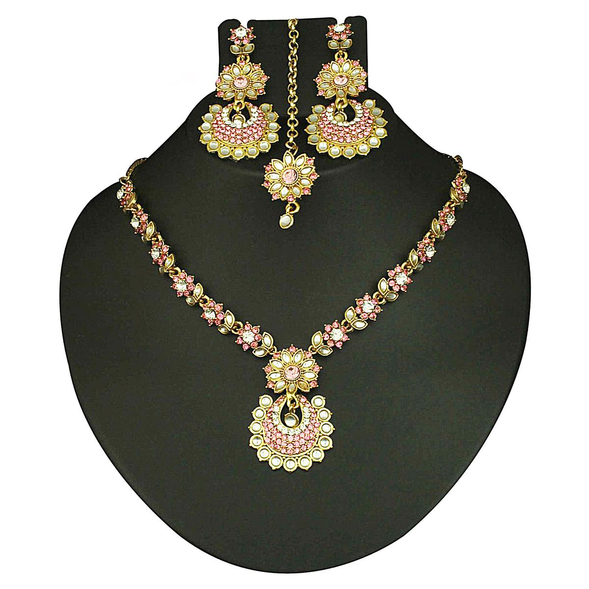 Pink Austrian Stone Gold Finish Necklace Sets With Maang Tikka