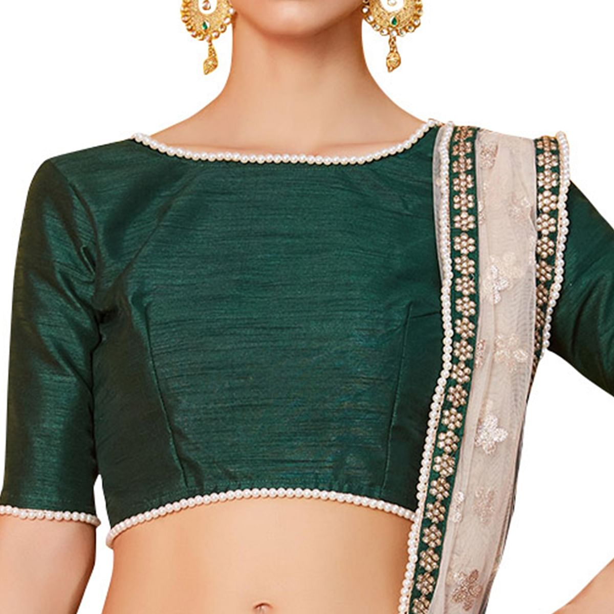 Refreshing Dark Green Colored Partywear Embroidered Art Silk Lehenga Choli