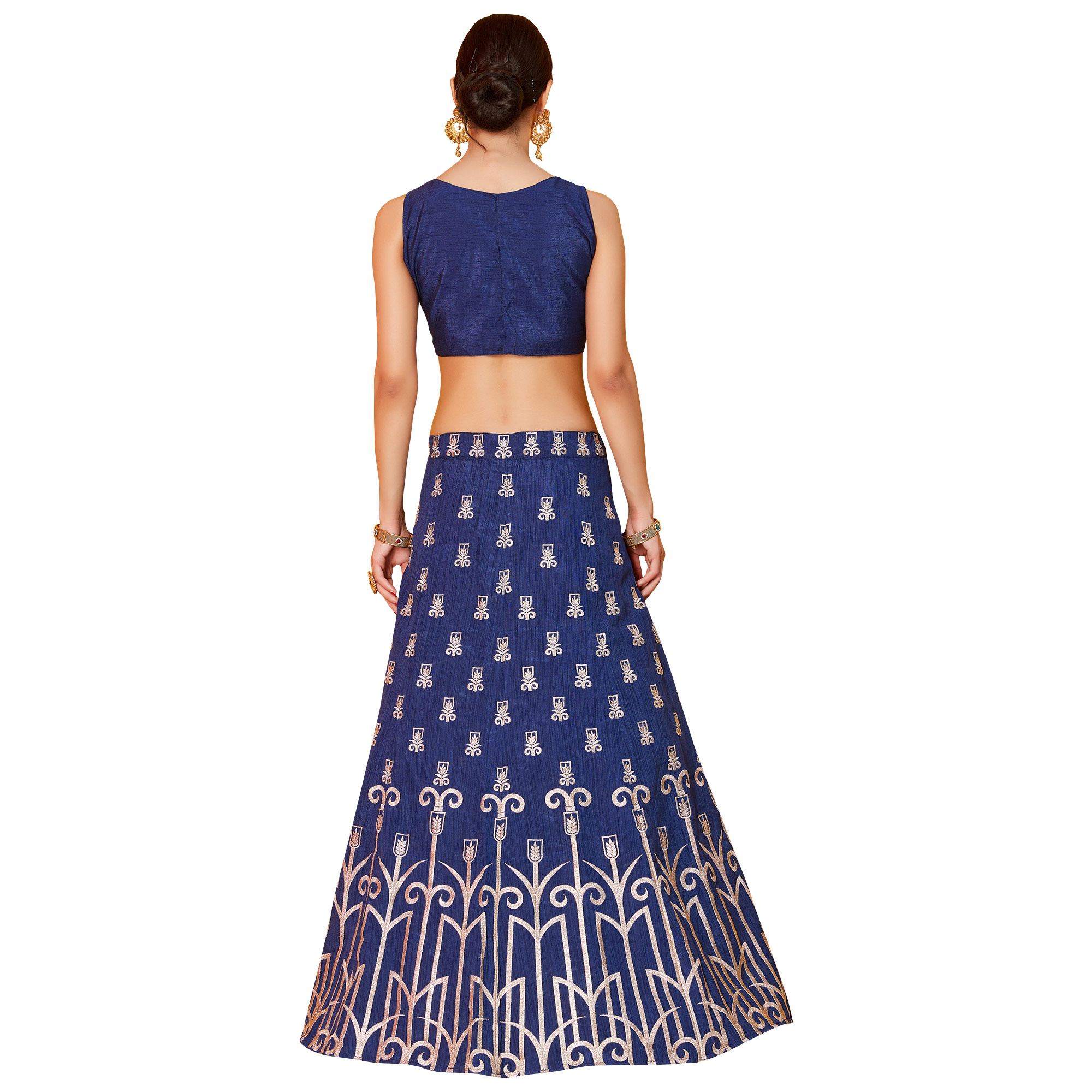 Stunning Blue Colored Partywear Embroidered Art Silk Lehenga Choli