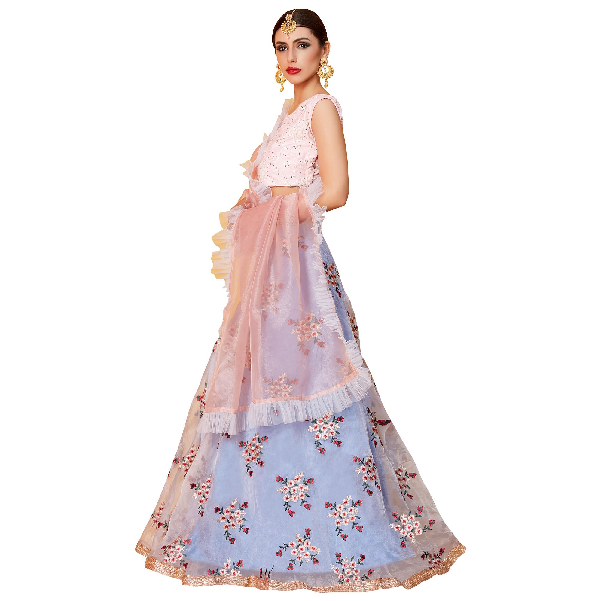 Appealing Pink-Light Blue Colored Partywear Embroidered Organza Lehenga Choli