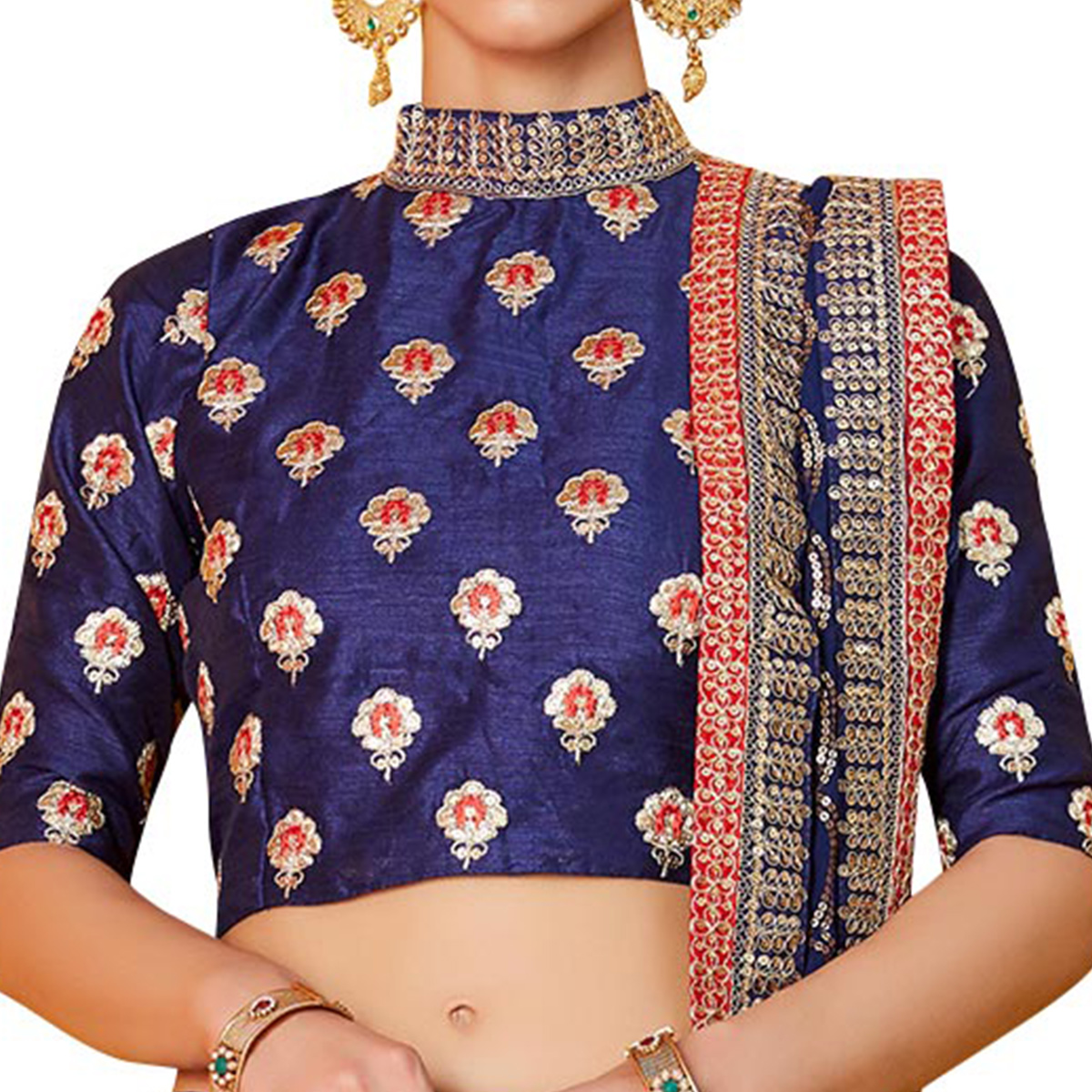 Eye-Catching Navy Blue Colored Partywear Embroidered Art Silk Lehenga Choli