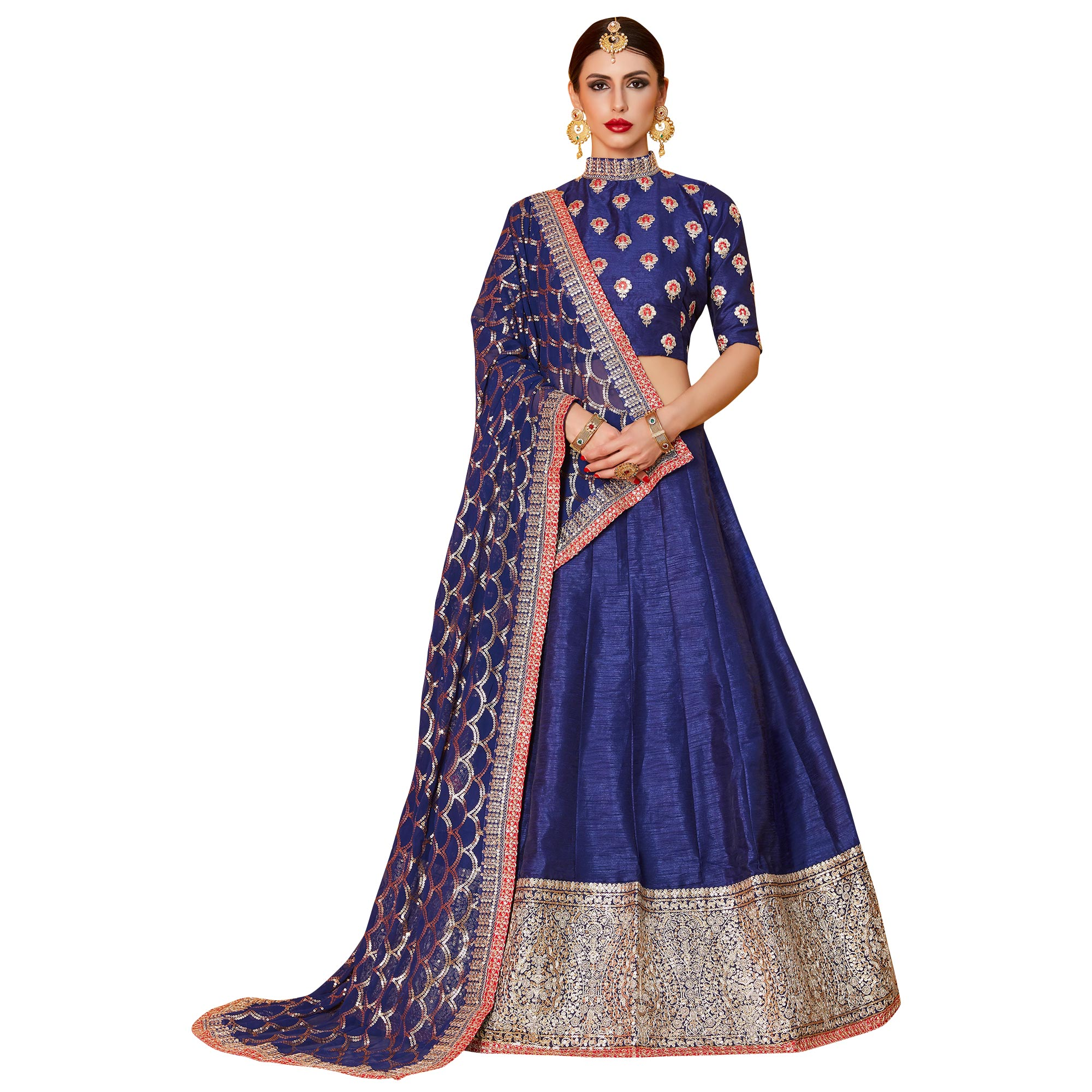 Demanding Navy Blue Colored Partywear Embroidered Art Silk Lehenga Choli